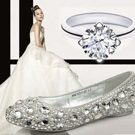 Charming Crystal Pumps Flats Wedding Shoes