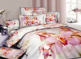 Pink Butterfly Orchid 100% Cotton Queen/King Size Bedding Sets