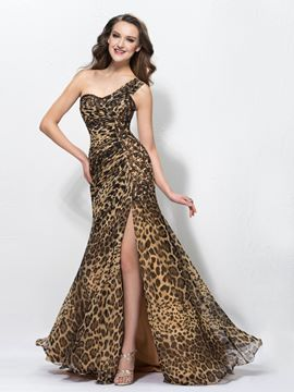 Sexy Leopard Print Split-Front One-shoulder Sweep/Brush Floor-Length Evening Dress