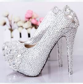 Luxurious Silver Crystal Closed Toe Stiletto Wedding Shoes