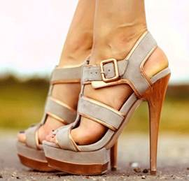 Stylish Gray Suede Cut-Outs High Heel Sandals