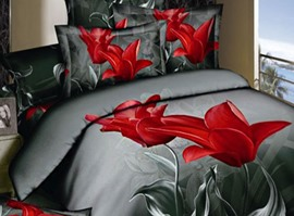 Black Background Red Flowers Fashion 3D Bedding Sets