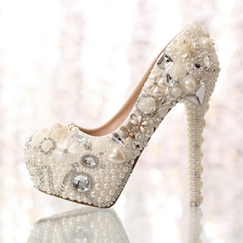 Sweet Pearl Rhinestone Flowers Closed Toe Stiletto Heel Wedding Shoes