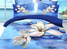 Blue Background Magnolia Flower Queen/King Size Bedding Sets