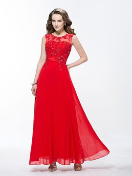 Graceful A-Line Jewel Beading Appliques Ankle-Length Prom Dress