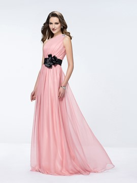 Affordable One-Shoulder A-line Flower Evening Dress
