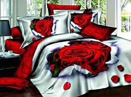 100% Cotton Roses 3D Bedding Sets