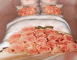 Romantic Champagne Roses Popular Queen/King Size Bedding Sets