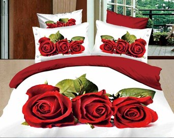 Aromatic Red Roses White Background Queen/King Size Bedding Sets