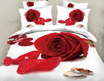 Ture Love Red Rose Queen/King Size Bedding Sets