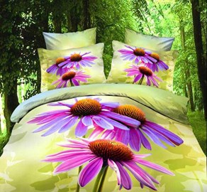 Nice Purple Flowers Popular Queen/King Size Bedding Sets