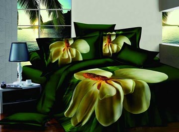 Green Background Big Yellow Flower 100% Cotton Queen Size Bedding Sets