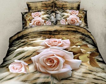 Pink Rose Popular Queen/King Size Bedding Sets