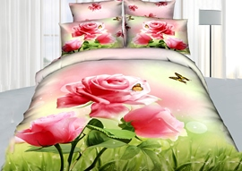 100% Cotton Romantic Pink Roses Queen/King Size Bedding Sets