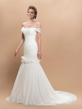 Charming Trumpet Flowers Off-the-Shoulder Trumpet Wedding Dress
