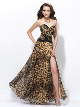 Sexy A-line Floor-length Sweetheart Split-Front leopard print Prom Dress
