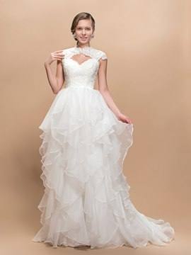 Hollow Out Cap Sleeves Court Train Wedding Dress
