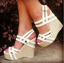 White Cooppy Leather Cut-Outs Wedge Heel Sandals