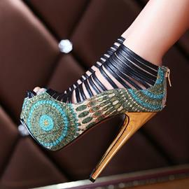 Amazing Flower Print Cut-Outs High Heel Prom Shoes