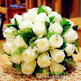 Wonderful Sphere Shaped White Rose Wedding Bridal Bouquet