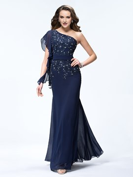 Exquisite One Shoulder Trumpet Floor Length Chiffon Prom Dress
