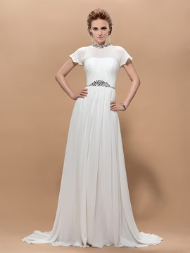 A Line Jewel Neck Crystal Short Sleeves Floor Length Court Train Evening Dress