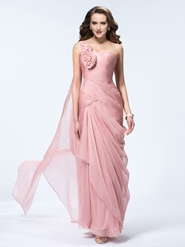 Gorgeous Floral One Shoulder Sheath Evening Dress