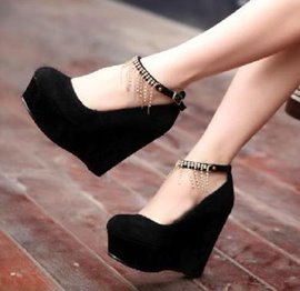 Amazing Rhinestone Wedge Shoes with Tassels
