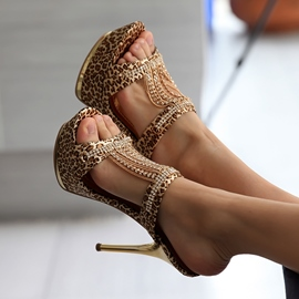 Sexy Leopard Print Rhinestone Chain Point Heel Sandals