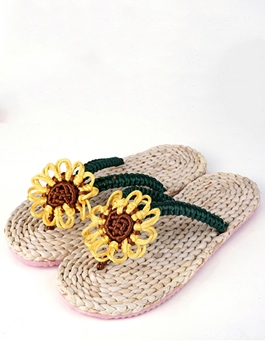 Ericdress Green Rattan Grass Sunflower Flip Flops Slippers