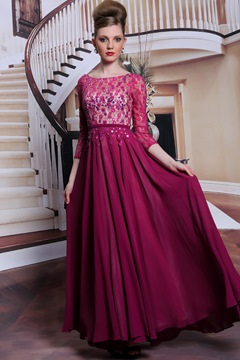 Dark Red Lace Beading A-Line Floor Length Prom Dress