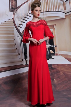 Scoop Beading 3/4 Sleeves A-Line Floor Length Prom Dress