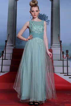 Light Blue Applique A-Line Floor Length Prom Dress