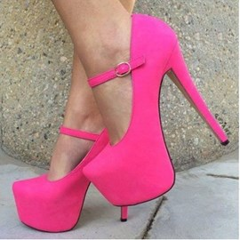 Rose Suede Ankle Strap High Heel Shoes