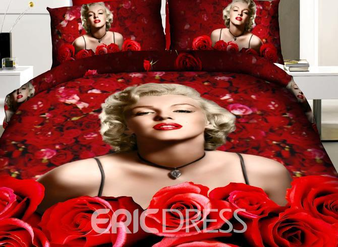 Top-selling Sexy Marilyn Monroe and Red Roses Print 4 Piece Duvet Cover Sets Ericdress