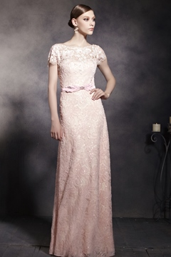 A-Line Lace Bateau Short Sleeves Floor-Length Evening Dress