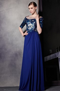 Fascinating Half-Sleeves Applique Zipper-Up A-Line Sequins Floor-Length Evening Dress
