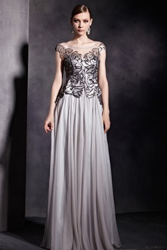 Dramatic A-LineScoop Floor-Length Zipper-Up Appliques Evening Dress