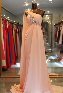 Ericdress Elegant A-Line Sweep Train Crystal One-Shoulder Evening Dress
