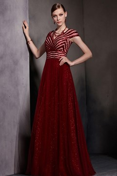 A-Line V-Neck Short Sleeves Sequins Floor Length Dramatic Evening Dress