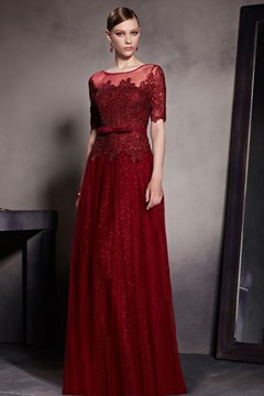 Burgunduy Lace Appliqued Half Sleeves Long Chffion Evening Dress