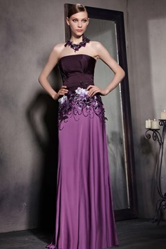 Chic Strapless Flowers Butterfuly Sequins Evening Dress