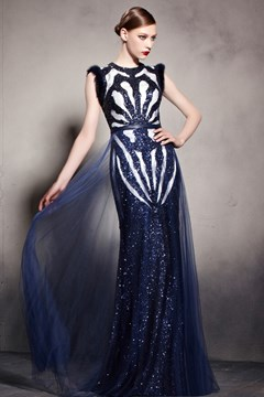 Fascinating Scoop Sleeveless Sheath Zipper-Up Floor-Length Sequins Evening Dress