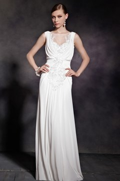 Jewel Neck Appliques Ruffles Floor-Length Evening Dress