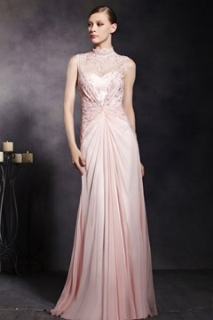 Fascinating High Neck Beading Applique Zipper-Up A-Line Floor-Length Evening Dress
