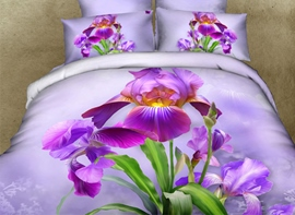 Purple Dutch Iris Print 3D Duvet Cover Sets