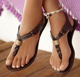 Fashionable Brown PU Flat Sandals