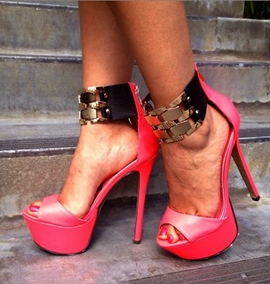 Attractive Red Ankle Strap Platform Sandals