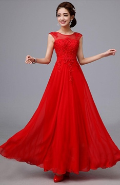 Gorgeous A-Line Scoop Appliques Floor Length Charming Bridesmaid Dress