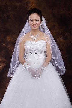 Charming Mid-Hip Length Tulle With Beading Wedding Veil